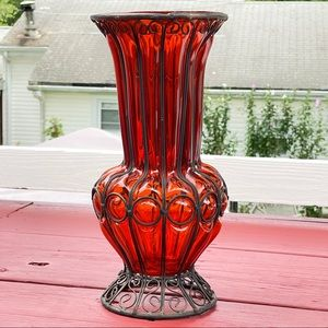 Vintage  Tall Red Blown Glass Vase In Iron frame